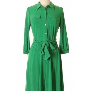 🌴NY Collection Green Tie Waist Flare Dress